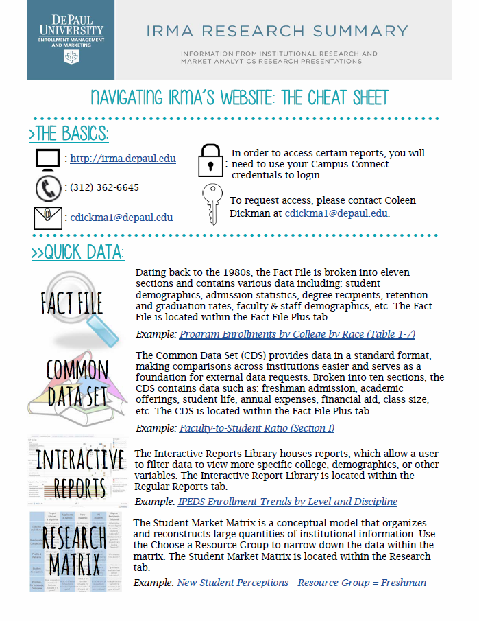 Brown Bag Infographic: Navigating IRMA's Website - The Cheat Sheet by Coleen Dickman